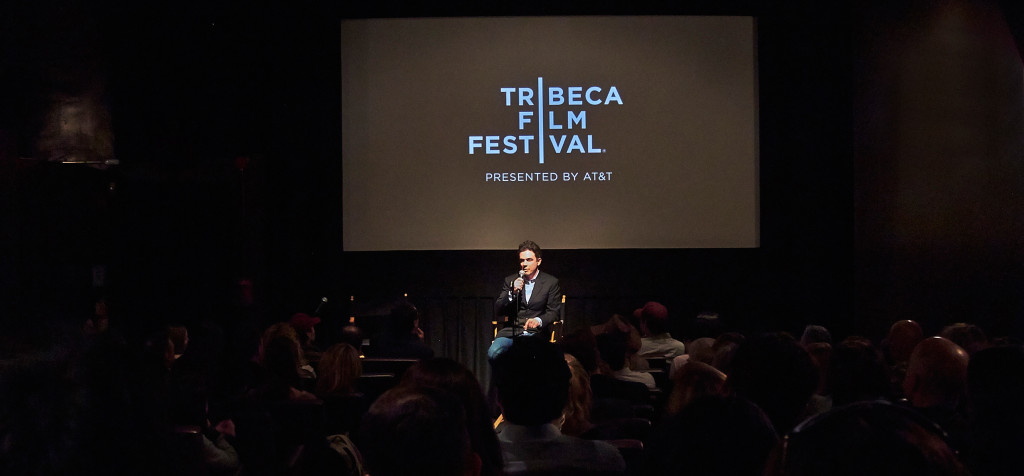 Director of Stink! Movie Jon J. Whelan does a question and answer session during the Tribeca Film Festival.