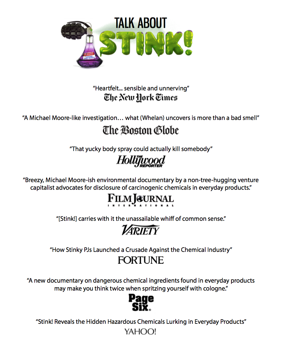 Check out what the New York Times, Boston Globe, LA Times, Village Voice, Variety, Film Journal, and Hollywood Reporter have to say about Stink!